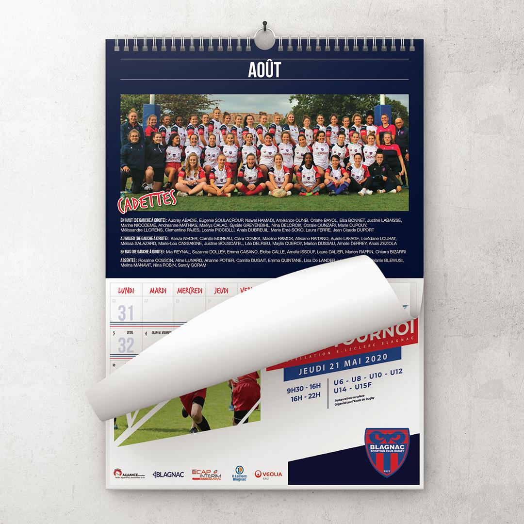 Édition 2020 du calendrier de l'association de l'École de rugby de Blagnac. Creation de l'illustration de couverture.