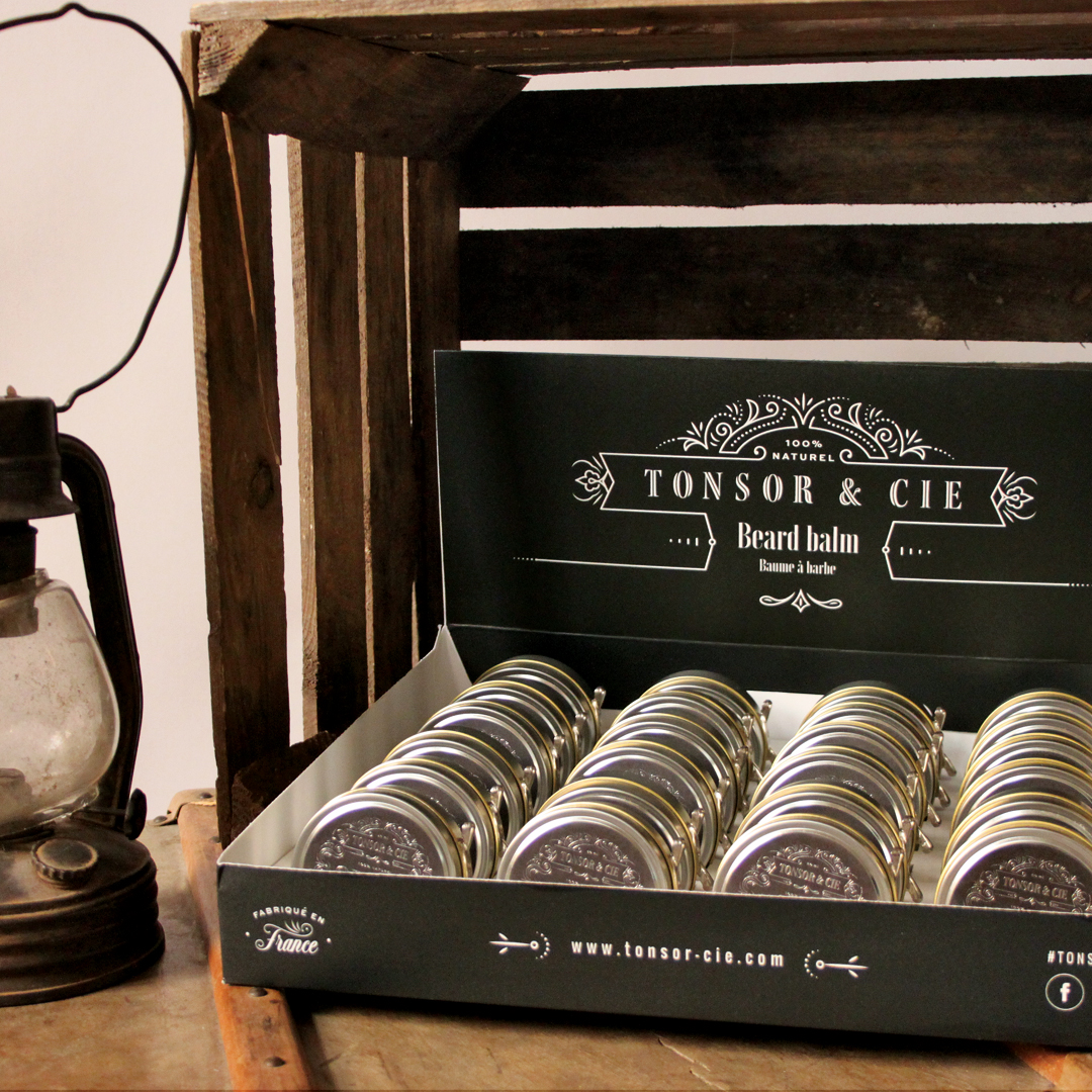 Création packaging produits sur mesures qui se transforment en présentoirs. Cosmétique masculine, Barbe