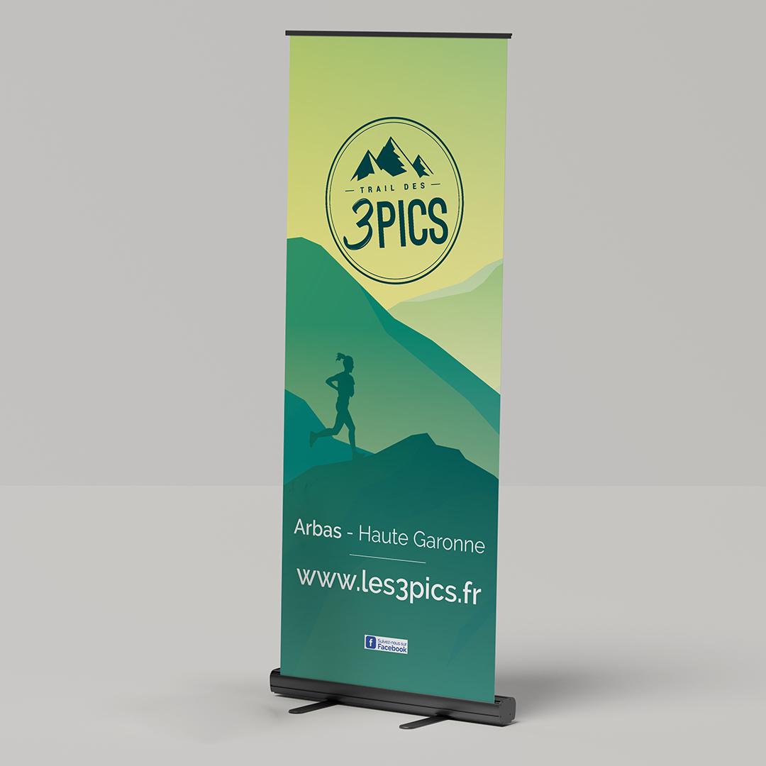 Édition 2020, création du kakemono de promotion du trail, Arbas, Pyrénées