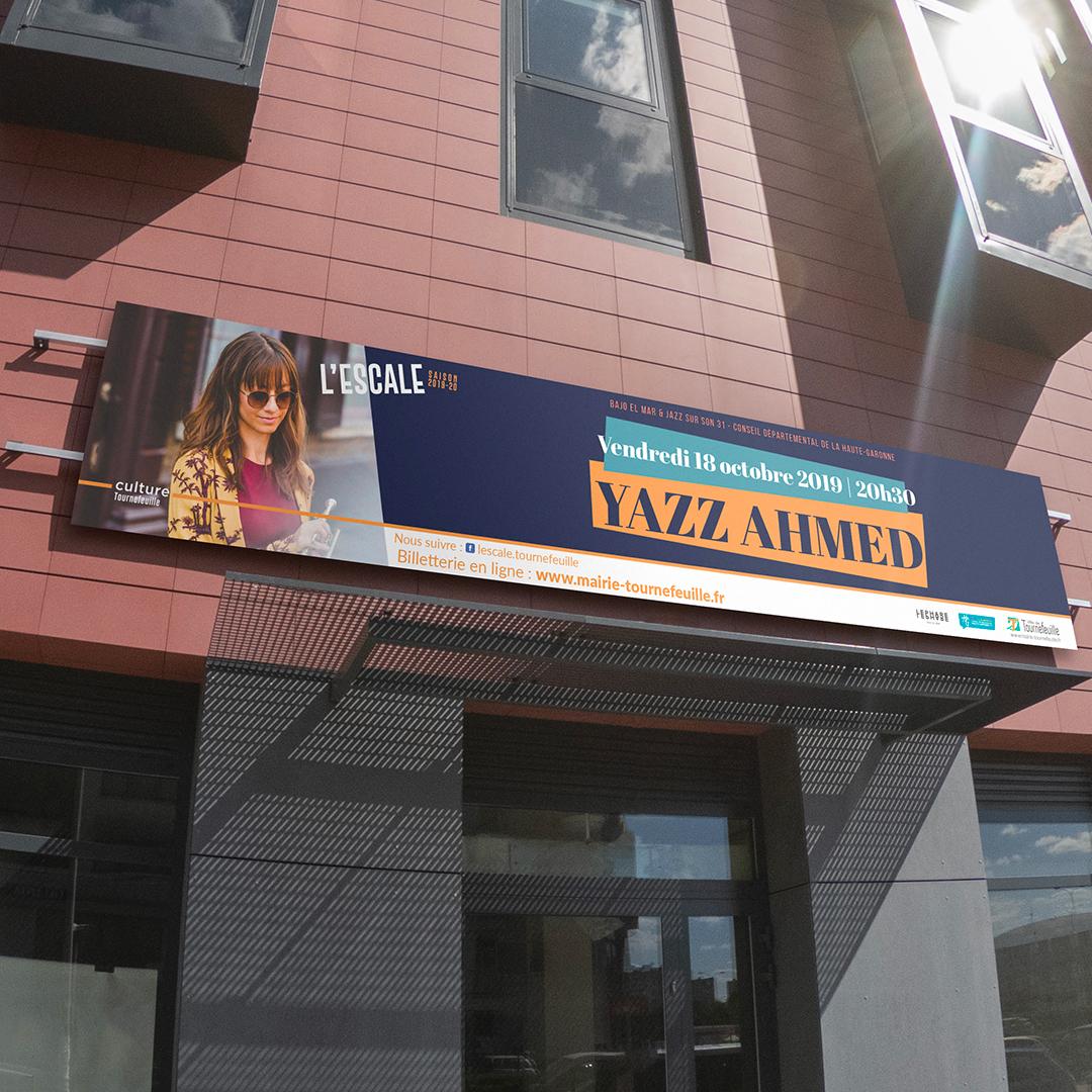 Création bâche pour le spectacle de Yazz Ahmed à L'Escale de Tournefeuille.