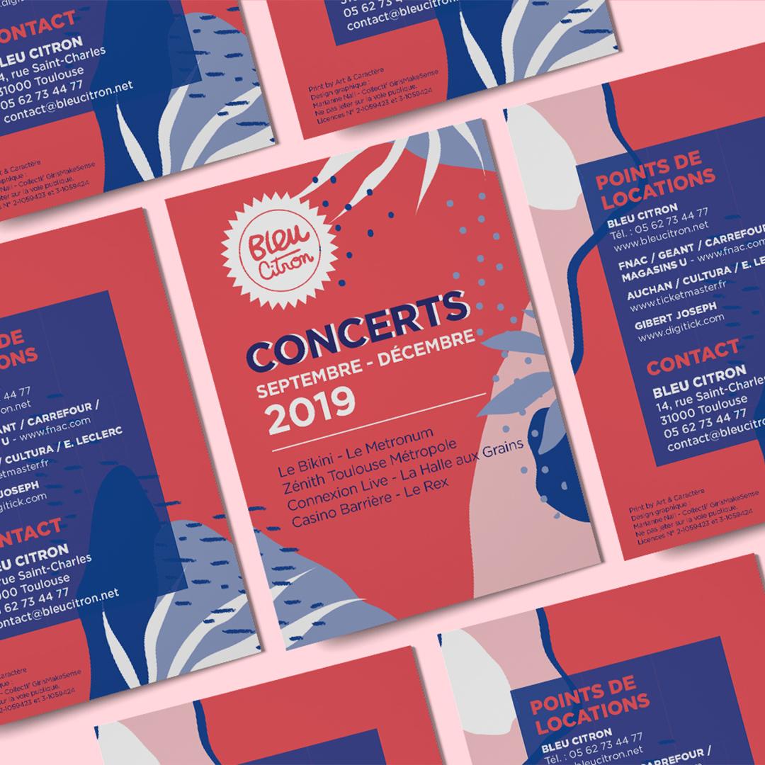 Programmes de concerts et spectacles pour Bleu Citron saison 2019. Fond coloré et végatal. Toulouse
