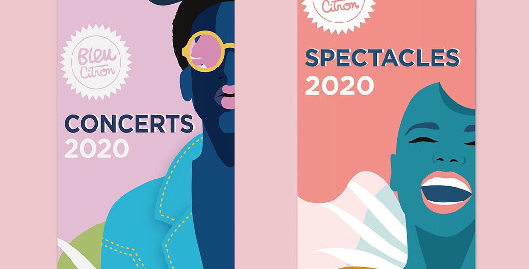 Programmes de spectacles et concerts saison 2020 de Bleu Citron. Programes sous forme de dépliants, coloré et végétal. Avec illustrations de visages de femmes