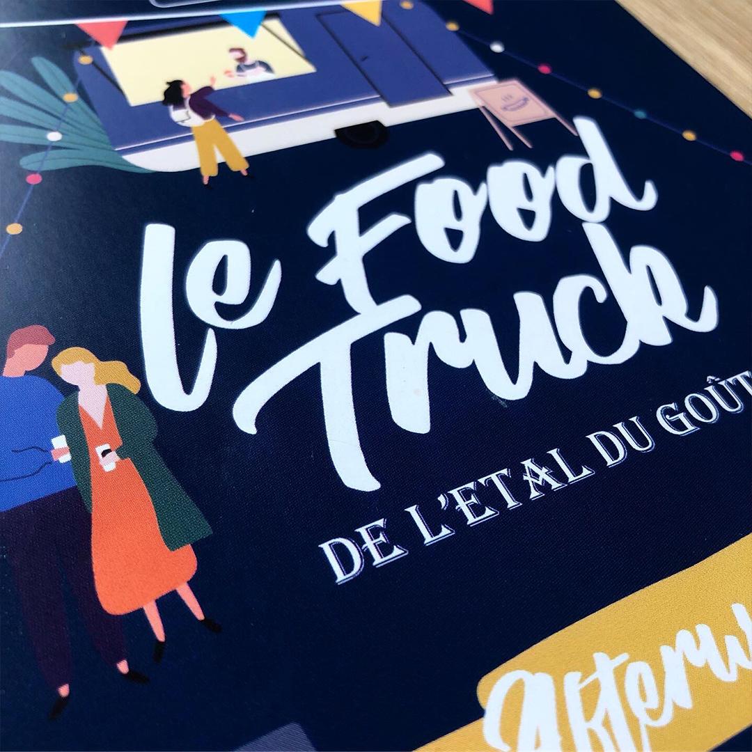 Flyer a l'esprit guinguette annonçant une soirée food truck. Toulouse.