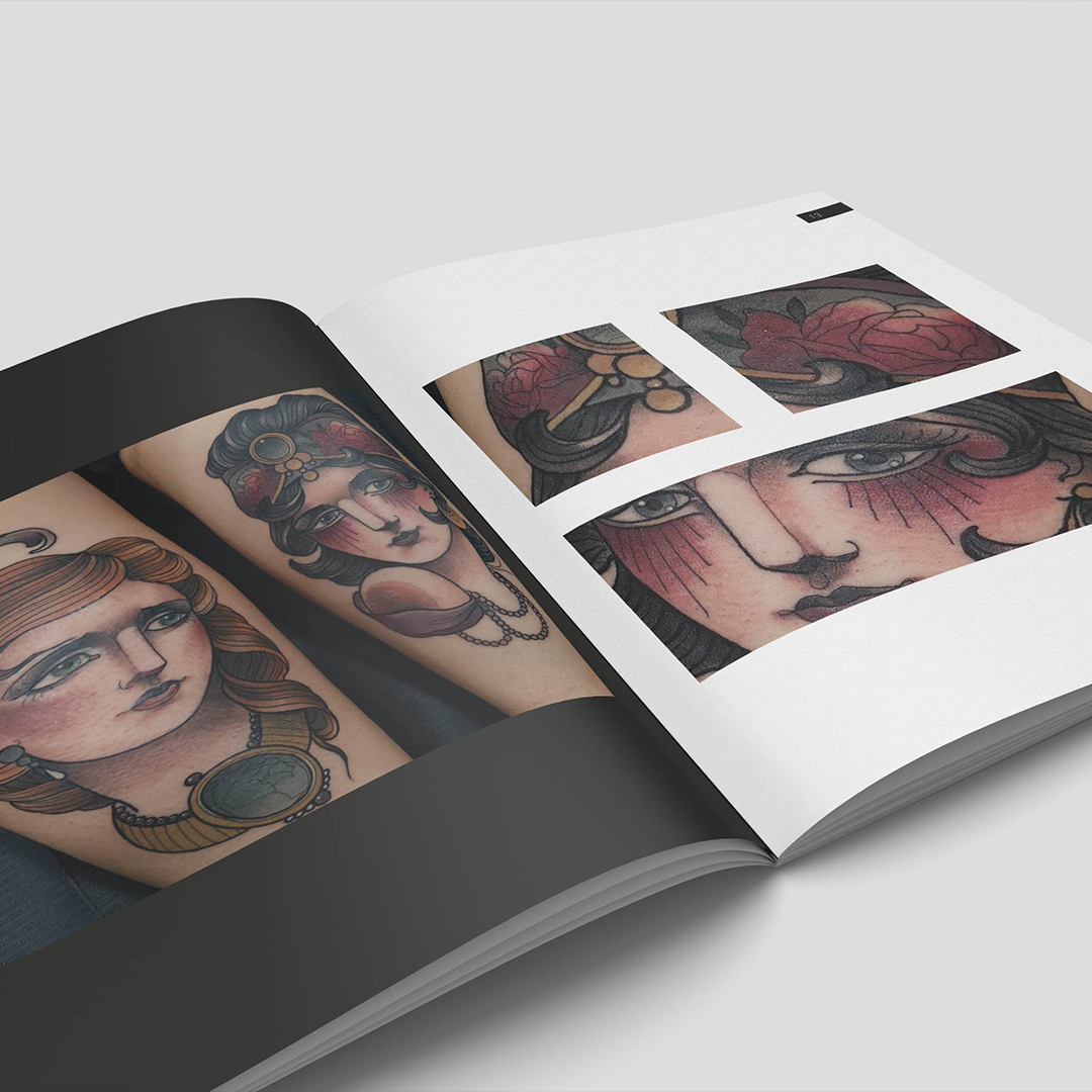 Livre de tatouages mise en page du portfolio, artiste tatoueur
