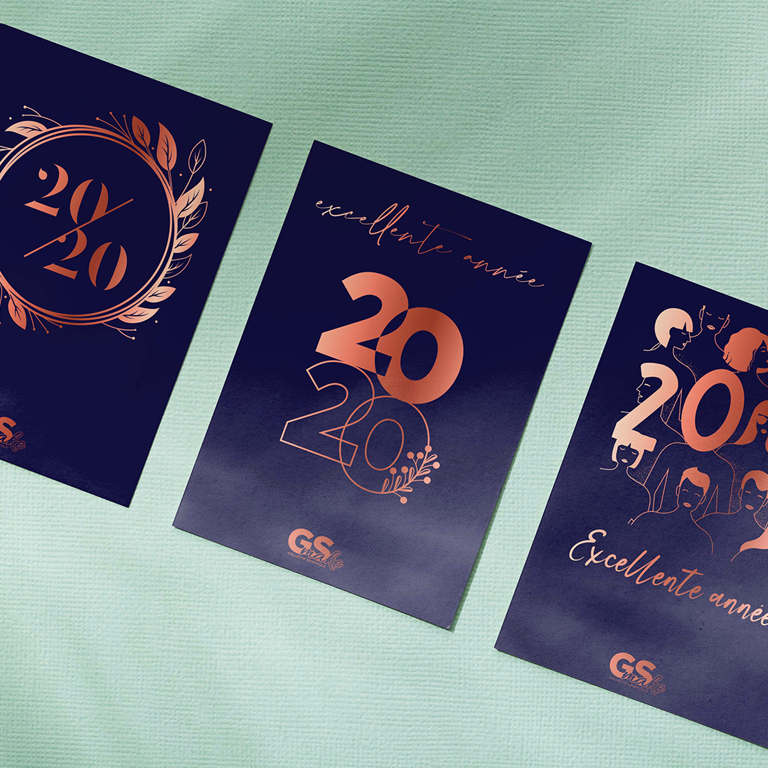 Cartes de voeux 2020 faites à la main avec du papier thermique, foil art, illustration. Bonne année