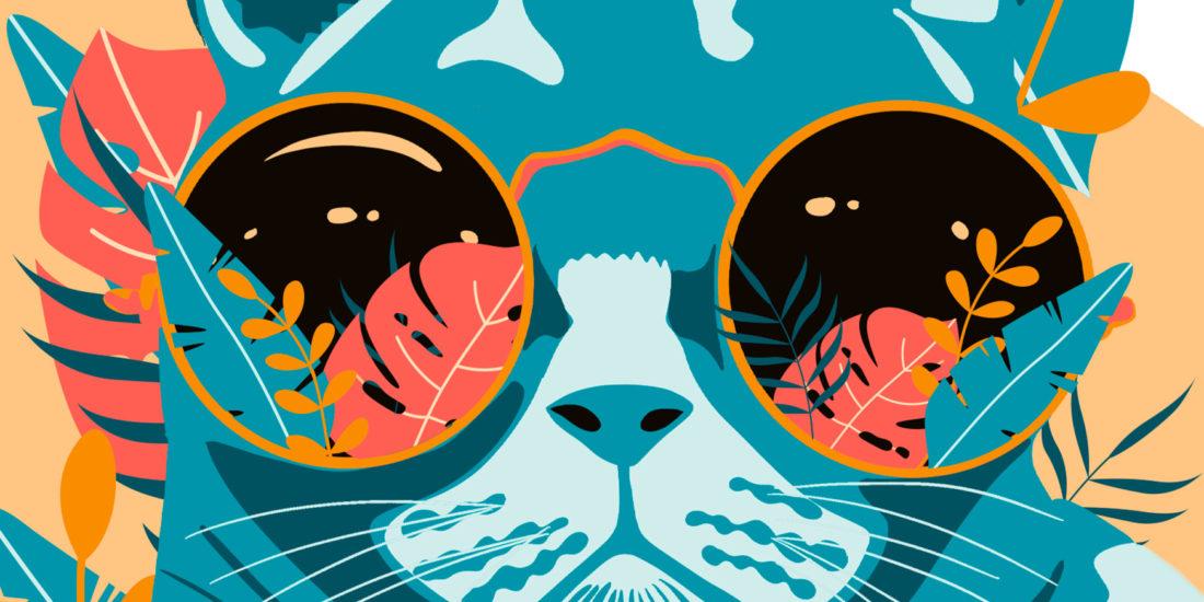 Girlsmakesense, illustration, graphisme, chat, fleurs, lunettes, tropical