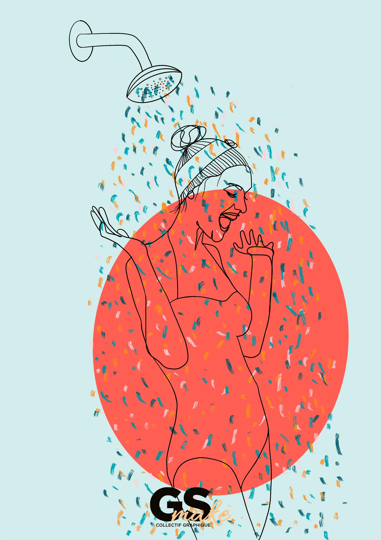 Girlsmakesense, illustration, line art, douche, paillettes